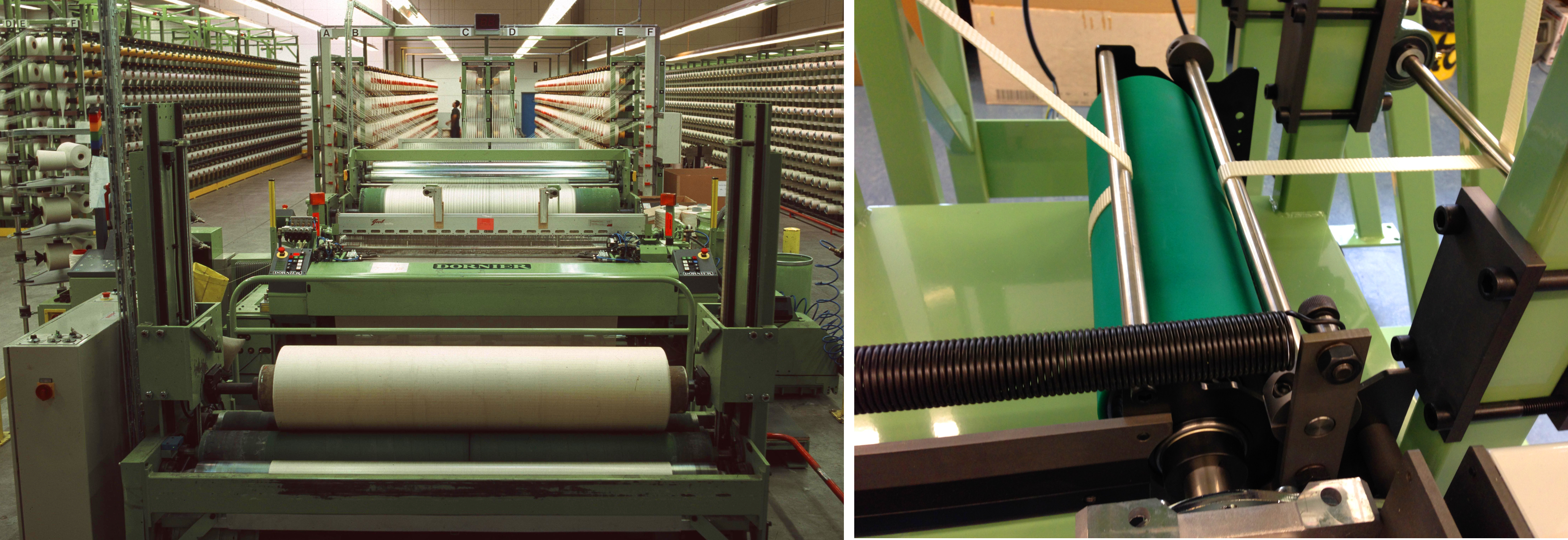 (l) Warp F3eeding System with Unrolling Creel for Tire Cord Fabric / (r) Warp Feeding System for narrow webbings