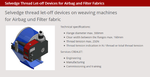 Selvedge thread let-off device on weaving machines for Airbags